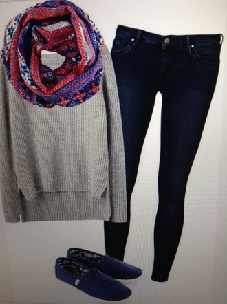 scarf shirt jeans toms shoes style knitted sweater sweater pretty