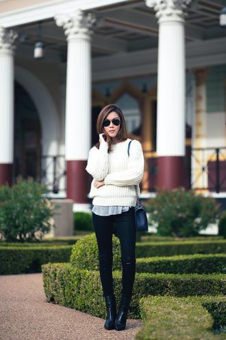 tsangtastic blogger sunglasses bag knitted sweater black jeans