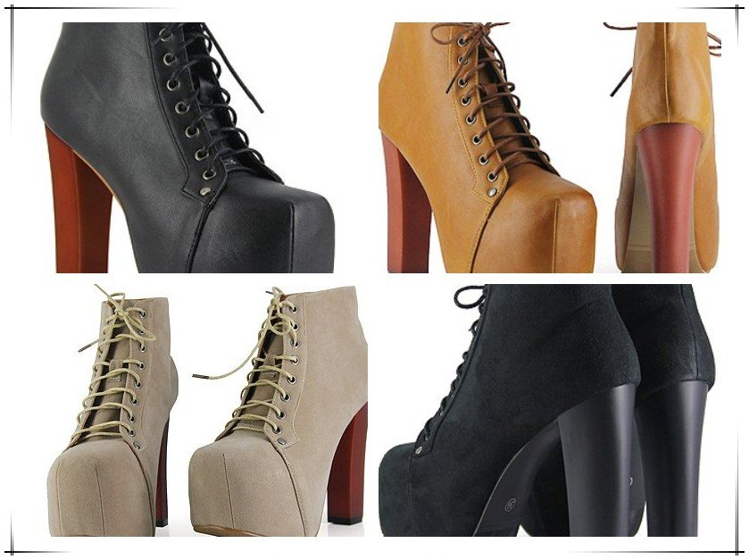 Jeffrey Campbell Imitation High heels Ankle boots Size4 9  4Colors Sexy Laides High platform  Designer women shoes Freeship RA34-in Boots from Shoes on Aliexpress.com