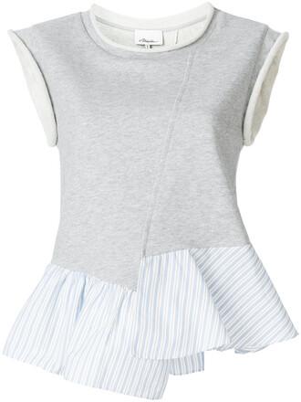 top ruffle women cotton grey