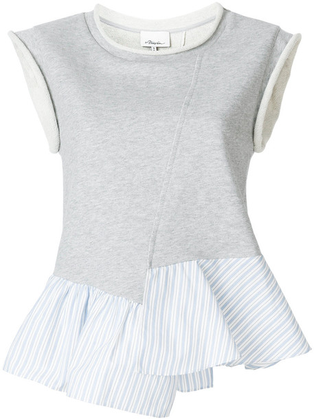 3.1 Phillip Lim top ruffle women cotton grey