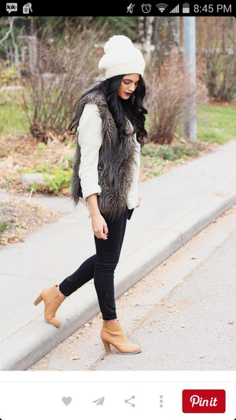 jacket fur vest fur jacket women's fall/winter boots faux fur vest