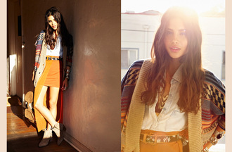 shoes nastygal nastygal.com southwest tribal pattern aztec lookbook corduroy southwest-inspired warm colors earth tones warm/earthtone sweater skirt shirt belt bag