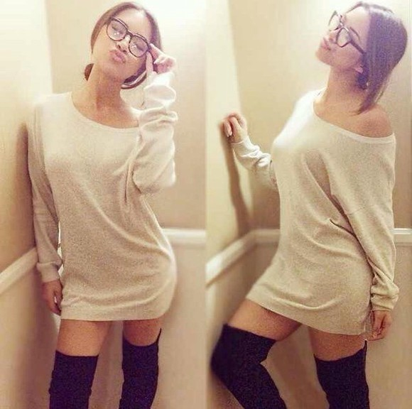 dress beige dress style sweater off the shoulder sweater julia jelly