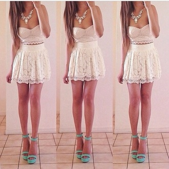 tank top white skirt light pink shoes pretty lace floral girly dress white dress short dress summer dress los angeles sexy dress top cute bottoms summer outfits