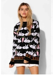 hipster,sweater,bunnies,ugly christmas sweater,grunge,bunny