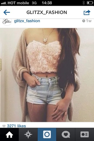shirt pink flowers blue shorts beautiful clothes necklace cardigan