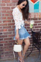 skirt,denim skirt,mini skirt,ruffle hem,blouse,mini bag,sandals,blogger,blogger style,asymmetrical skirt,broderie-anglaise,chloe,chloe bag