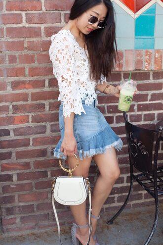 skirt denim skirt mini skirt ruffle hem blouse mini bag sandals blogger blogger style asymmetrical skirt broderie-anglaise chloe chloe bag