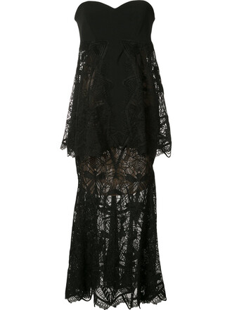 dress strapless women layered black silk