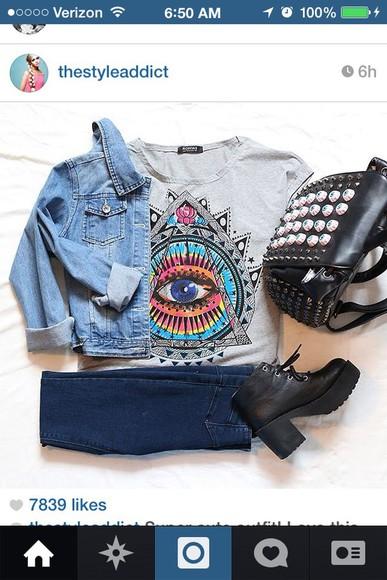 bag black bag studs jacket top jeans shoes
