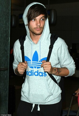 sweater louis tomlinson louis one direction hoodie grey boyband music comfy adidas comfysweater casual mens sweater menswear top