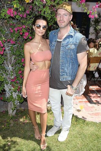 pencil skirt midi skirt two-piece emily ratajkowski coachella festival sunglasses sandals nude
