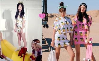 hyun a kpop banana white skirt t-shirt crop tops mini skirt and crop top mini skirt