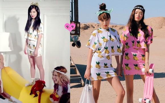 t-shirt mini skirt skirt white crop tops hyun a kpop fashion banana mini skirt and crop top