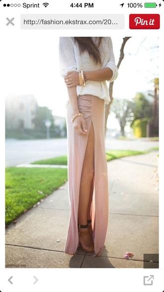 skirt maxi skirt maxi pink dress sexy dress slit skirt style fashion chic summer dress summer spring warm rouching beach