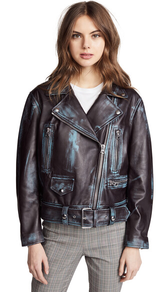 jacket leather jacket leather dark brown turquoise