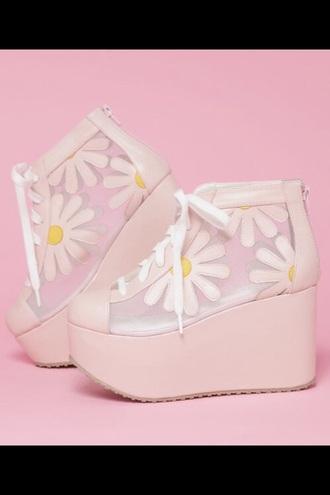 shoes pink daisy transparent platform shoes transparent shoes