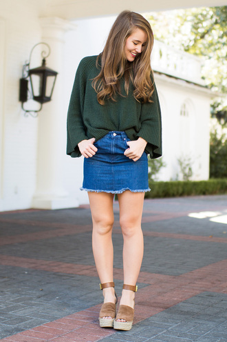 a lonestar state of southern blogger shoes top sweater skirt jewels green sweater denim skirt wedges wedge sandals