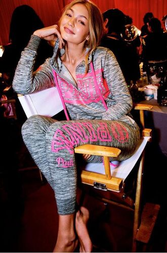 jacket sweatshirt hoodie gigi hadid pink by victorias secret sweatpants pants victoria's secret