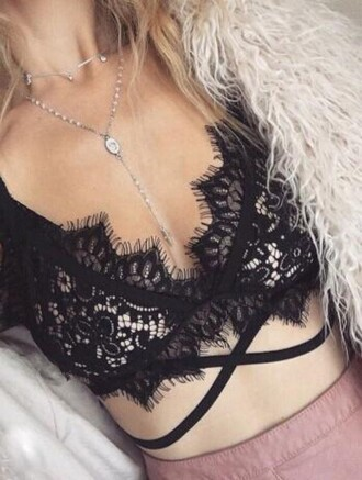 top girl girly girly wishlist black lace lace bra strappy sexy black lace bra top bralette