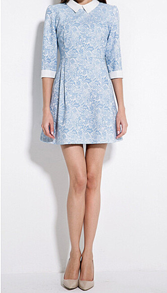 ruffles dress contrast collar & cuff light blue jacquard weave white back zip dress a-line dresses floral half sleeves short