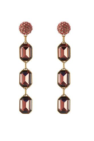 embellished earrings magenta jewels