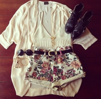 shorts round sunglasses belt shirt sweater sunglasses crop tops white floral high waisted shorts combat boots glasses cardigan grunge soft grunge pastel boho flowered shorts