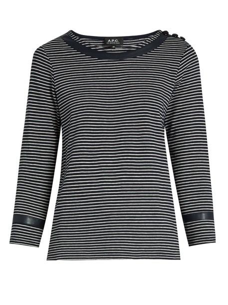 A.P.C. t-shirt shirt t-shirt cotton navy top