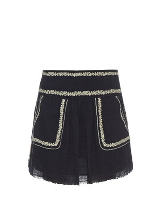 skirt embroidered cotton black