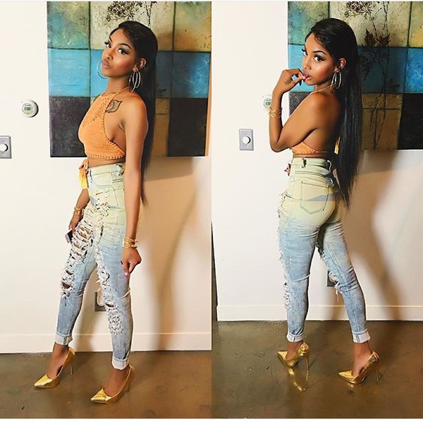top crop tops orangetop ripped jeans halter top knitted crop top goldheels pointed toe pumps jeans high waisted jeans jewels gold gold necklace gold bracelet goldhoops