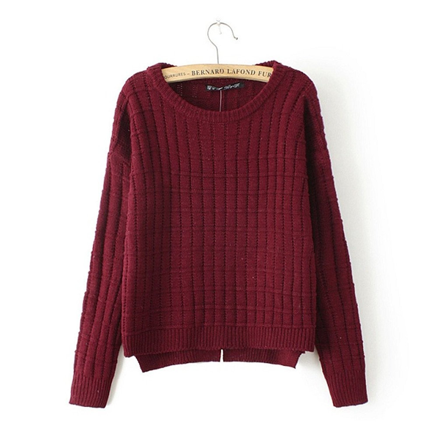 Women's Boat Neck Split High Low Cropped Sweaters Jumpers One Size ...