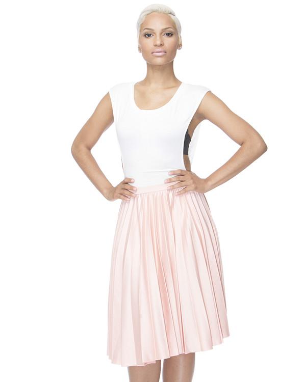 skirt pleated skirt midi skirt pink skirt light pink pale pink skirt