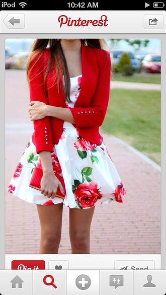 dress short floral white roses floral dress