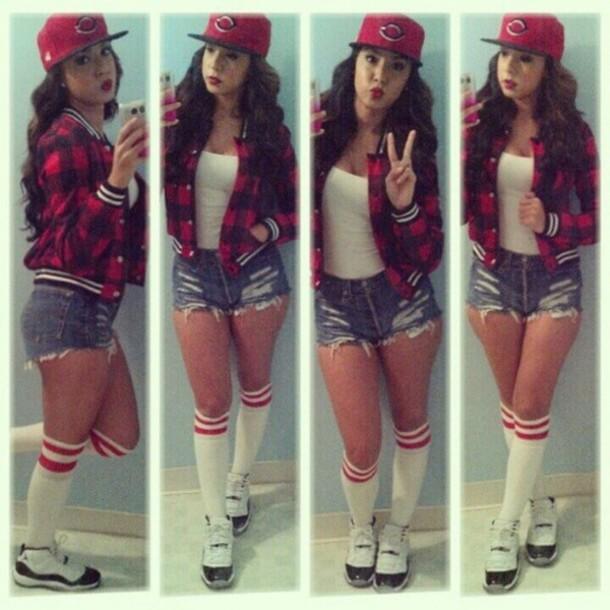e346cee46 jacket socke knee high socks top tank top hat snapback red flannel varsity  jacket shoes white