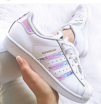 shoes white silver metal adidassuperstars adidas iridescent