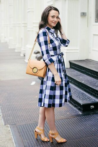 dress checkered shirt dress brown handbag orange strappy heels blogger
