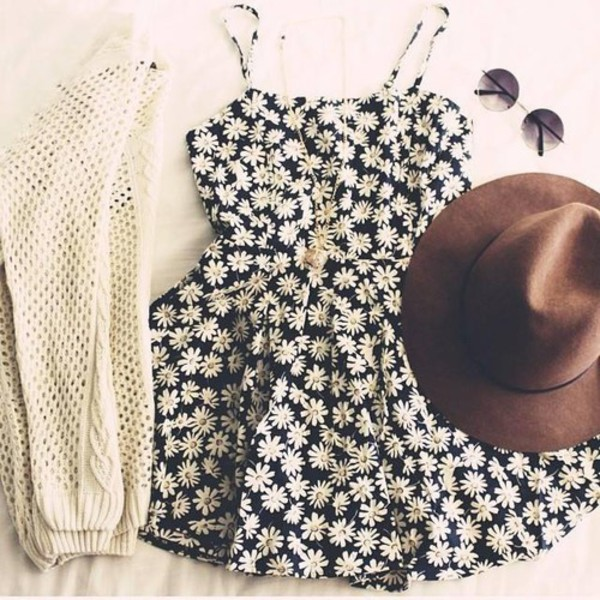 clothes tumblr dress hat sunglasses cardigan