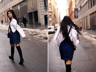 kristenglam blogger white sweater denim dress overalls