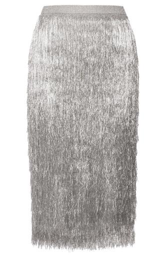 skirt silver fringe skirt