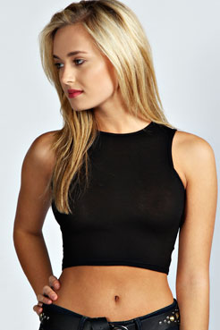 Zara Slash Neck Crop Top at boohoo.com