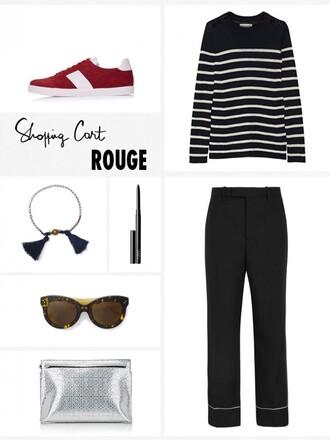 garance dore blogger shoes sweater pants bag jewels sunglasses