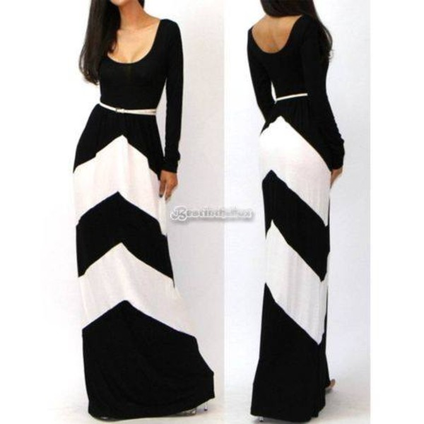 Plus Size Black And White Hourglass Long Sleeve Colorblock Dress