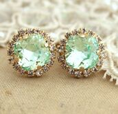 jewels,earrings,diamonds,mint,sea foam green,jewelry