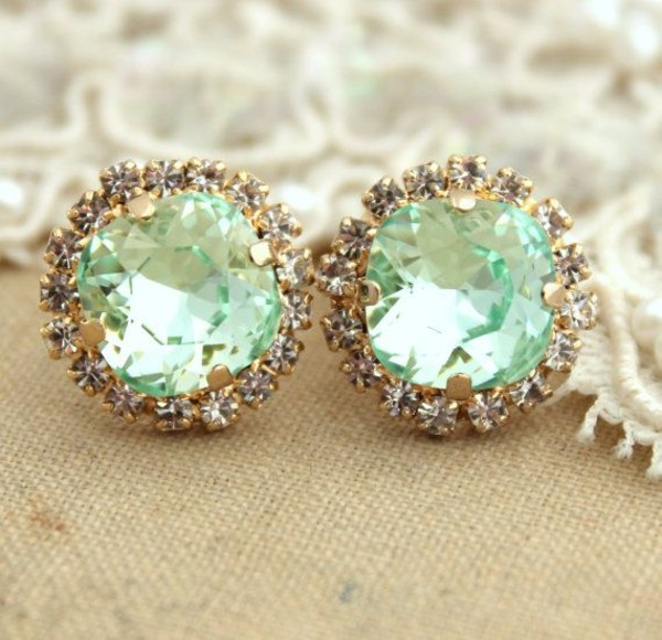jewels earrings diamonds mint sea foam green jewelry