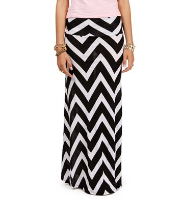 Pre-Order: Black/White Chevron Print Maxi Skirt on Wanelo