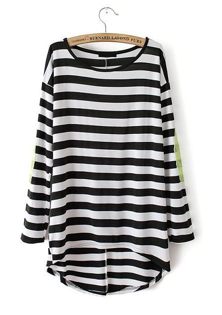 Neck sequins stripe pattern short sleeve t