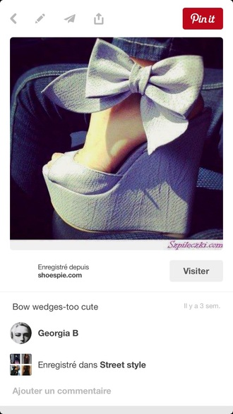 shorts blue bow wedge heels cute open toes