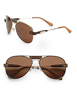 Leather-Trimmed Metal Aviator Sunglasses/Brown - SaksOff5th