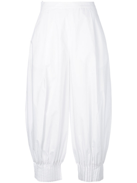 DELPOZO pleated cropped women white cotton pants